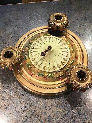 Antique Vintage Art Deco Nouveau  3 Light Ceiling Fixture Chandelier