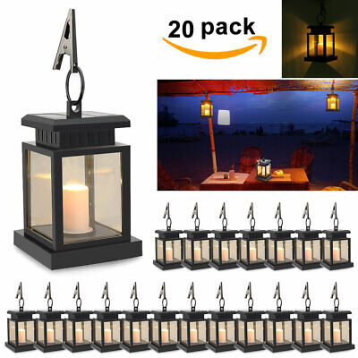 LED Candle Light Solar Powered Outdoor Hanging Garden Wall Lantern Night Lamp AU