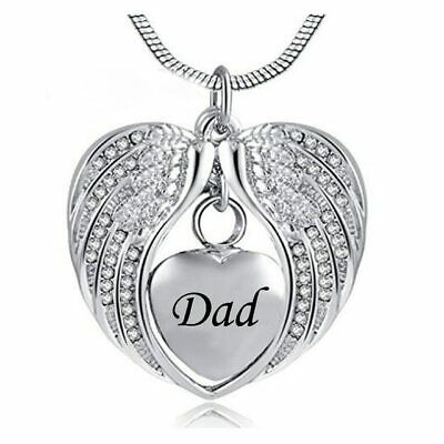 Dad Cremation Ashes Necklace Urn Pendant Jewellery Keepsake Memorial Family UK