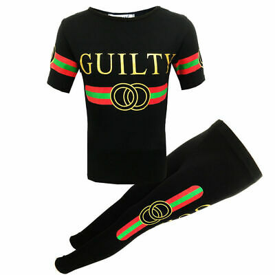 New Girls Kids Guilty Tracksuit Leggings & Top Black Gold Age Sizes 5-13 Years