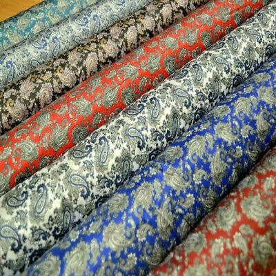 7 COLOURS Paisley Satin Jacquard Polyester Upholstery Dress Lining Fabric
