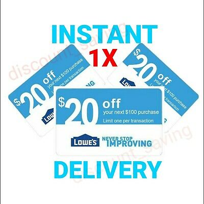 1x Lowes $20 off $100 In$tant Delivery Online/InStore 1COUPON W BARCODE-EXP 6/25