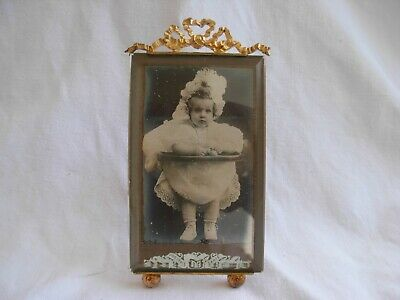 ANTIQUE FRENCH GILT BRASS BEVELED GLASS PHOTO FRAME,LATE 19th CENTURY.