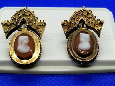 ANTIQUE ETRUSCAN  VICTORIAN 14k GOLD cameo EARRINGS