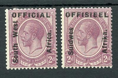 South West Africa 1927 Official 2d SGO3 separated pair cat £275 as pair