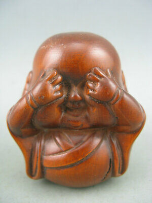 Antique Chinese Old Boxwood Hand carved Buddha Statue