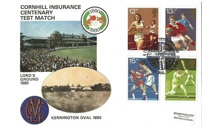 Cornhill Ins Centenary Test Match Cover With All Four Sports Stamps & Postmark