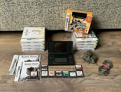Nintendo DS Lite Black Handheld System & Games Bundle- x18 Games- Tested Working
