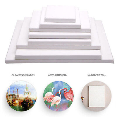 BL_ FT- Durable White Blank Canvas Board Wooden Frame Artist Oil Acrylic Paints