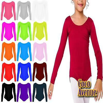 Kids Girls Long Sleeve Round Neck Microfibre Gymnastics Dance Leotard Bodysuit