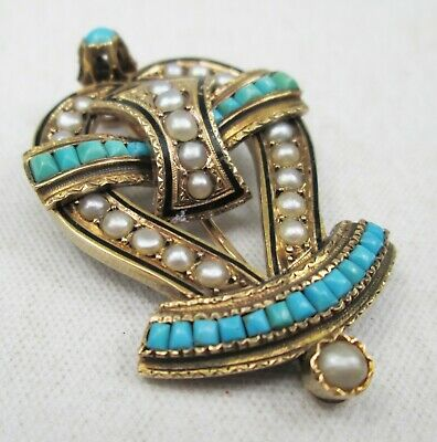 Antique French Victorian 18ct Gold Pearl & Turquoise Mourning Brooch Pin