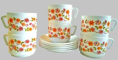 6 x Vintage French Arcopal France Scania Cup & Saucers. Orange Pink Flowers