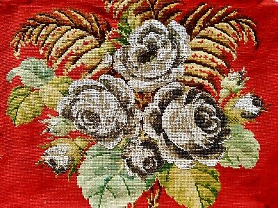 Antique 19Th Century Victorian Beadwork & Woolwork Floral Roses Panel