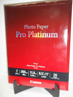 Canon Photo Paper Pro Platinum Glossy 8.5x11 PT-101 20 Sheets Sealed