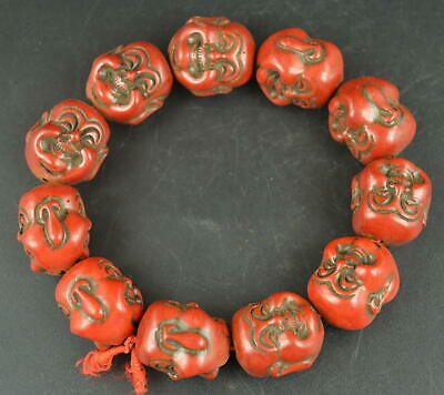 AAA Fine Decorate Coral Carve Double-Face Buddha Head Elastic Bracelet Exorcise