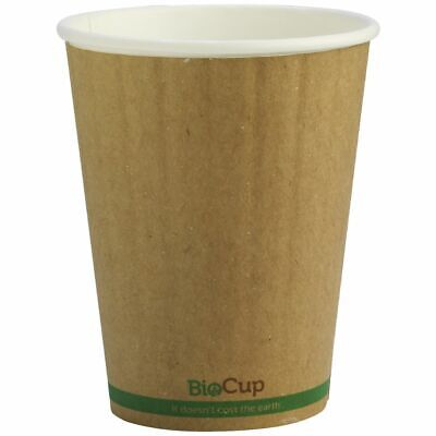 BioPak Double-wall Coffee Cups 12oz Kraft 1000 Box