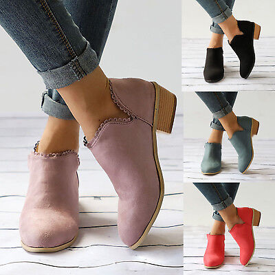 Womens Ladies Flat Ankle Boots Low Heel Block Chunky Booties Shoes Size Casual