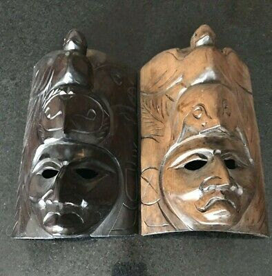 Hand Carved African Wood Wall Art Tribal Masks Carved Eagle On Heads Set of Two