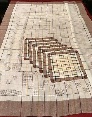 "Vintage 1930's Muslin Table Cloth 65x50"" & 6 matching Napkins Set––Brown Plaid"