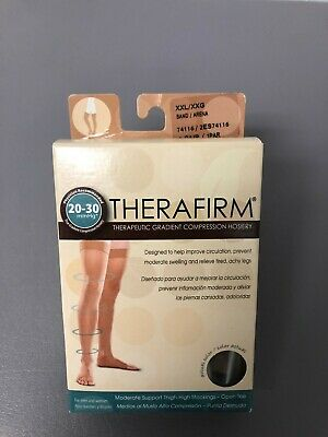 Therafirm compression stocking thigh high open toe beige 20-30 size XXL