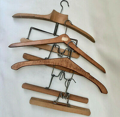 Vintage French Four Solid Wooden Clothes Hangers For Wedding Dress Bride Photos