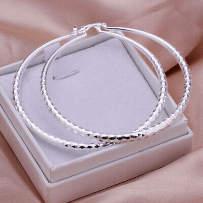 9a8b0cbef7ec4 WOMENS 18K WHITE Gold Plated Extra Large 70mm Crystal-Cut Round Hoop ...