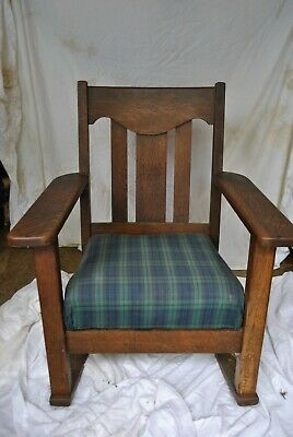 Mission Arts and Craft Solid Oak 1920's Stickley Era Rocking Chair