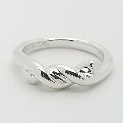 Tiffany & Co. 925 Sterling Silver Double Intertwined Rope Twist Ring Size 6