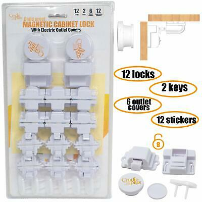 Baby Proofing Magnetic Cabinet Locks Pack with Outlet Covers Child Proof Safety