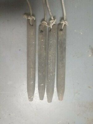 LOT OF 4 VINTAGE CAST IRON WINDOW SASH WEIGHTS 5 to 6 POUNDS EACH