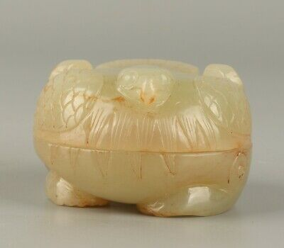 Chinese Exquisite Hand carved bird Carving Hetian jade box