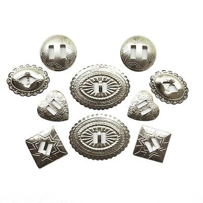 Concho Sampler Pack 5 pairs Star Oval Round Diamond Silvertone 10 pieces
