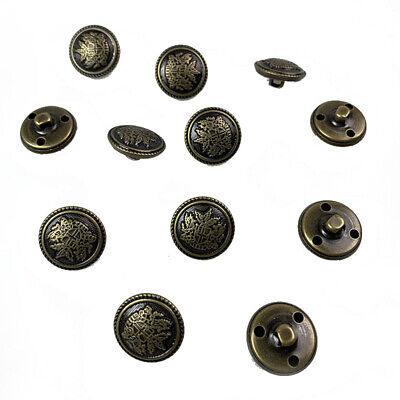 Pack of 8 Antique Bronze Crested 11mm Loop//Shank Button 0011