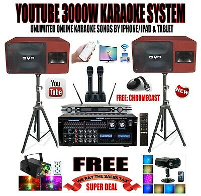 Youtube Professional 3000W Complete Karaoke System Iphone/Ipad & Tablet