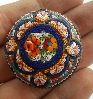 "Vintage Antique 1.5"" Victorian Micromosaic Micro Mosaic Pin Italy Brooch Jewelry"