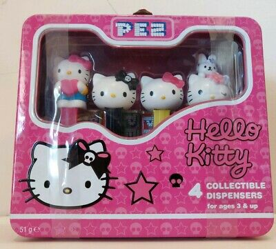 PEZ – Hello Kitty – Four Collectible Dispensers plus Hello Kitty Lunchbox – Pink