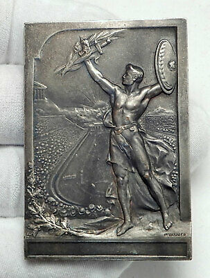 1906 ATHENS Greece OLYMPIC GAMES Olympiad Opening Ceremony Medal Plaque i78682