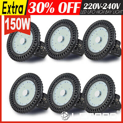 50W 6 Pack UFO LED High Bay Light Lamp Factory Warehouse Gym Industrial Shed