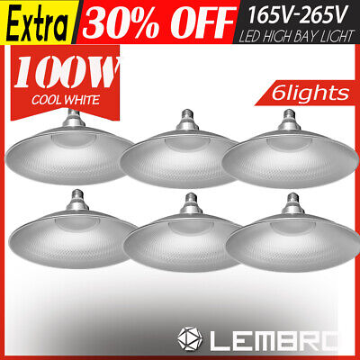 100W 6 Pack UFO LED High Bay Light Lamp Factory Warehouse Gym Industrial Shed