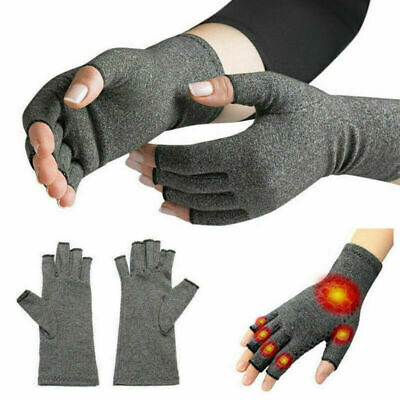 2X Anti Arthritis Copper Gloves Compression Fingerless Support Joint Pain Relief