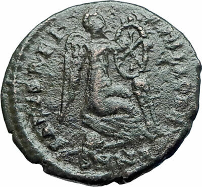 EUDOXIA Arcadius Wife 401AD Ancient Roman Coin VICTORY Christian CHI-RHO i78130
