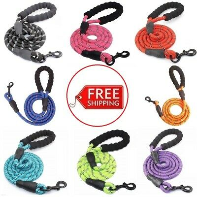 Rope Dog Lead 5FT Heavy Duty with Padded Hand Reflective Threads for Large Dogs