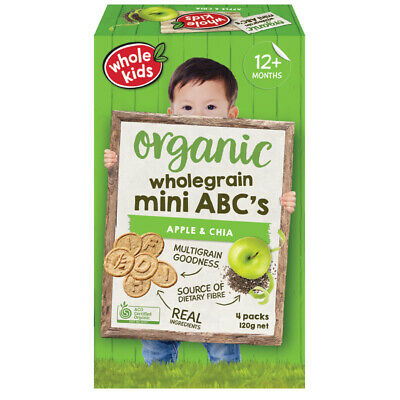 Whole Kids Organic Mini Biscuits Apple & Chia 120g 4 Pack