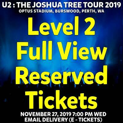 U2 | Perth | Level 2 Full View Reserved Tickets | Wed 27 Nov 2019 7Pm