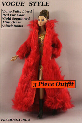 New Barbie doll clothes outfit 3 piece set fur coat sequinned dress & boots