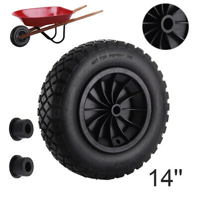 "14"" BLACK PU WHEELBARROW WHEEL / PUNCTURE PROOF / SOLID 3.50/3.00-8 - 1"" bore"