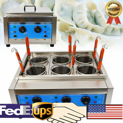 6 KW Pasta Marker Noodles Cooker Electric Pasta Cooking Machine 6 Holes Basket