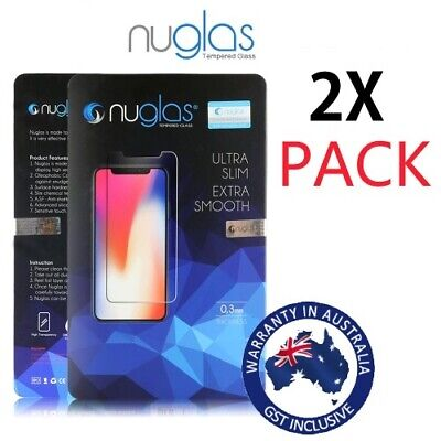 2x NUGLAS Tempered Glass Screen Protector for iPhone XR XS Max X 8 7 6 6s Plus