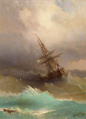 "Ivan Aivazovsky Ship in the Stormy Sea Handmade Oil Painting repro 12""x16"""