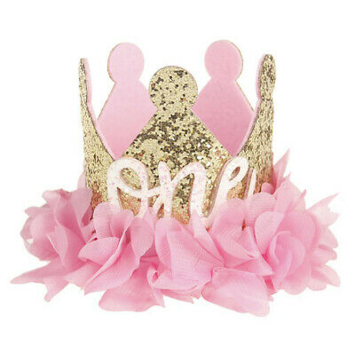 Baby Girl Sweet Flowers Sparkling Sequins Crown Number Birthday Party Headband